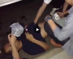 【Vine動画】酔って路上で寝てるやんちゃ系筋肉イケメンの巨根を弄り倒す友人w