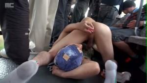 【ゲイ動画ビデオ】公衆の面前でのバスで大胆な痴漢男がジャニーズ系細マッチョイケメンを狙い、大胆不敵ゲイセックス! 衆人環視の中フェラで強制射精!