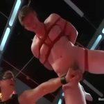 【ゲイ動画】正義面した筋肉イケメンヒーローを捕らえて亀甲縛りにし、機械にケツマンを犯させる非情なマッチョイケメンな悪者!
