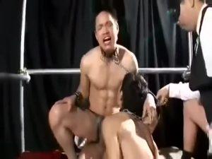【ゲイ動画】鎖で繋がれた筋肉イケメン、スリ筋坊主イケメンがオークションに出品! ケツの締まり具合や巨根の勃起度合いを乱交でチェック!
