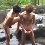 【ゲイ動画】露天風呂にイチャイチャとはしゃぐジャニーズ系スリ筋美少年たちは、好きな相手と立ちバックBL青姦で巨根も癒しちゃいます♪