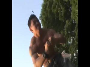 【ゲイ動画】ゴリマッチョなノンケの筋肉イケメンが巨根を勃起させて肉体美とパワフルピストンを見せつけるノンケセックス!