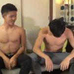 【ゲイ動画】19歳の親友同士であるノンケ筋肉イケメンくんが好奇心からWゲイビデオ出演したら、ゴーグルマンのねっとり尺八にアヘイキ!!
