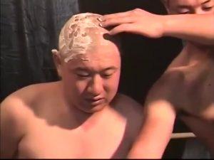 【ゲイ動画ビデオ】髪の毛もチン毛も全て剃り落とされたガチポチャイケメン、マッチョ先輩の折檻ファックにチンポから大量の精液を漏らすドMを曝す!