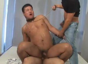 【ゲイ動画ビデオ】顔面に唾を吐きかけられながら、二本の巨根でケツマンと口を犯されるガチポチャ系イケメン奴隷!