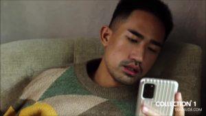 【ゲイ動画ビデオ】オシャンティーな雰囲気が半端ないアジア系筋肉イケメン外国人が、巨根オナニーしたり扱かれたり♪