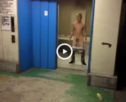 【Vine動画】エレベーターが開いたらジャニーズ系金髪筋肉イケメンが巨根曝してたw