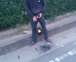 【Vine動画】野外露出で巨根を取り出し、たき火跡を放尿で鎮火するやんちゃ系イケメンw