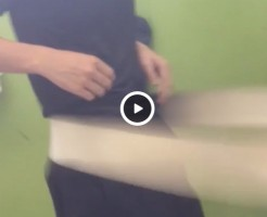 【Vine動画】スリム筋肉イケメンがベルトマッサージ機に揺られて巨根勃起寸前w