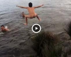 【Vine動画】やんちゃ系筋肉イケメンたちが全裸で湖に飛び込むって青春過ぎて胸熱♪